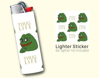 Pepe the Frog Lighter Sticker For BIC Maxi Lighter, Vinyl Sticker, Inspired Art by the popular Internet meme, lighter cover