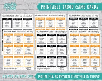 Halloween/Fall Taboo Game 54 Cards   Scary, Fun, Horror, Party Supplies, Black and Orange   PDF, Instant Download, Printable