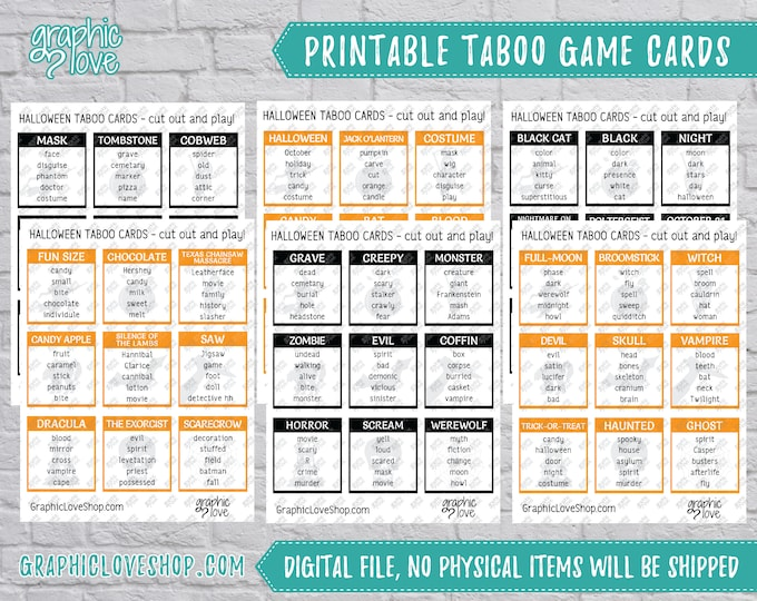Featured listing image: Halloween/Fall Taboo Game 54 Cards | Scary, Fun, Horror, Party Supplies, Black and Orange | PDF, Instant Download, Printable