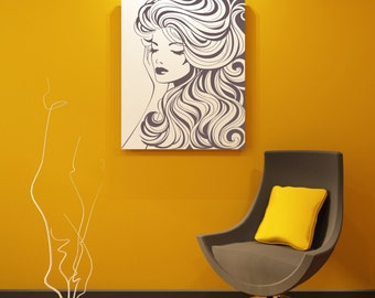 """Beautiful Woman With Wavy Hair Removable Wall Art Decor Decal Vinyl Sticker Mural """" Tamra"""""""