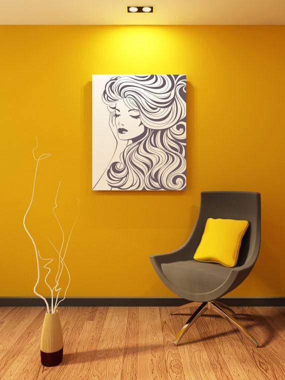 Beautiful Woman With Wavy Hair Removable Wall Art Decor Decal