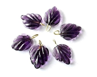6 Vintage glass dangling beads leaf shape with self loop purple 15mmx12mm
