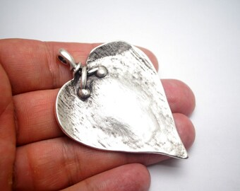 1pc- Matte Silver Plated Heart Charm-60x45mm (423-032SP)