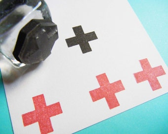 Tiny Medical Cross Rubber Stamp / Hangover Kit stamp / Planner Rubber Stamp - Handmade by BlossomStamps