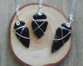Obsidian arrow head necklace