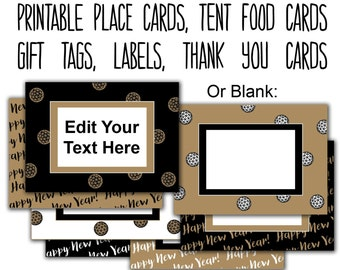 new years party editable tags printable food labels place cards new years cards new years eve food tags thank you tags instant download