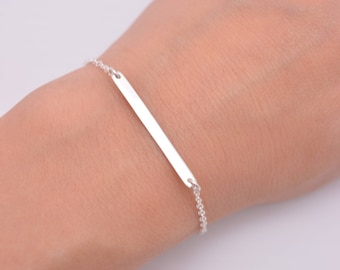 Silver Bar Bracelet, Layering Bracelet, Bar and Chain Sterling Silver Bracelet, Gift for Her 0401