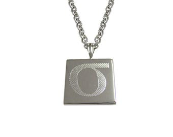Silver Toned Etched Greek Lowercase Letter Sigma Pendant Necklace