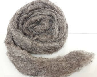 Heather mocha gray, 100% Natural fibers without dyeing, Perfect for felting, spinning or weaving.  Fiber carded in roving. Heathered gray
