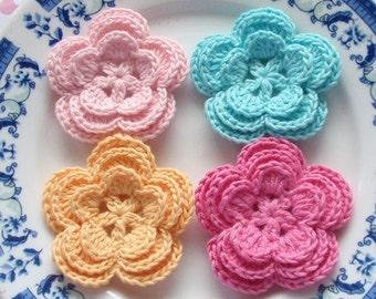 4 Crochet Flowers In Lt pink, Yellow, Aqua, Bubblegum Pink YH-008-04