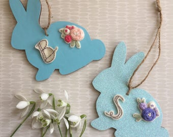 Easter bunny decoration- Spring bunny, personalised Easter gift, Easter chocolate alternative, rabbit decoration, embroidered flowers