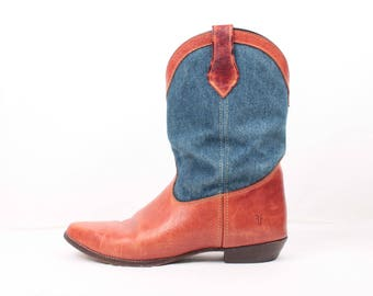 Frye boots // denim and leather // sz 10