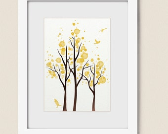 Lime Yellow Decor 5 x 7 Tree Wall Art Print, Modern Dining Room or Living Room Decor, (150)
