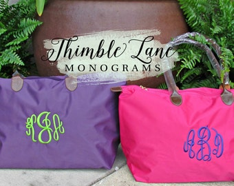 Monogrammed Purple Tote Bag with Zipper, Nylon Tote Bag, Personalized Tote Bag, Wedding Party Tote Bag, Personalized Tote, Monogrammed Bag