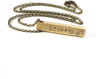 Scorpio Zodiac Bar Necklace, Constellation Necklace, Zodiac Jewelry, Brass, Unisex, Long Necklace, Zodiac Gift, November Birthday