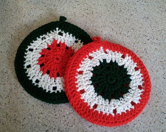 Holiday Hot Pads/Pot Holders - Green, Red and White