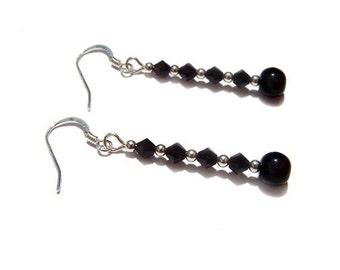 Black Onyx Sterling silver gothic earrings and Jet Swarovski steampunk earrings