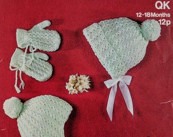 Original Sirdar Knitting Pattern Baby Hats and Mittens Ages 12-18 Months