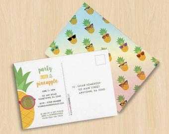 Party Like a Pineapple Anniversary Birthday Customizable Pineapple Fruit Sunglasses Invitation