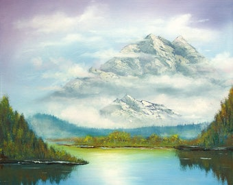 Mountain landscape with mist original oil painting, Mountainscape oil painting, Mist and Mountain lake painting, Alps landscape oil painting