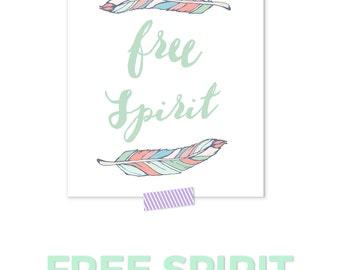 Free Spirit Art Print, Feather Print, Boho Nursery Art, Bohemian Nursery, Feather Nursery, Coral Nursery Art, Girl Nursery Decor