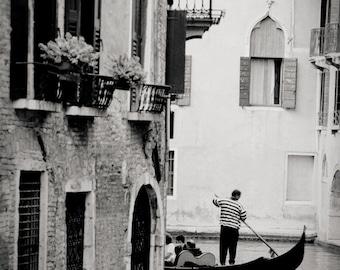 gondola around corner, Venice, Italy 2001.