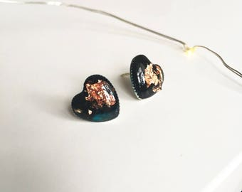 Turquoise gold earrings,Heart studs,Valentine gift for girlfriend,Stud earrings,Silver tiny studs,Romantic gift under 16, Resin earrings
