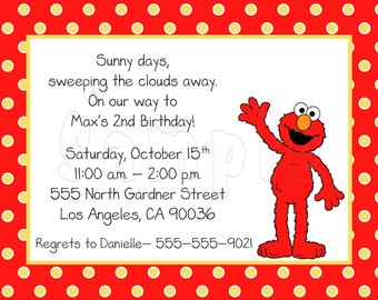 10 Polka Dots Elmo Invitations with Envelopes.  Free Return Address Labels