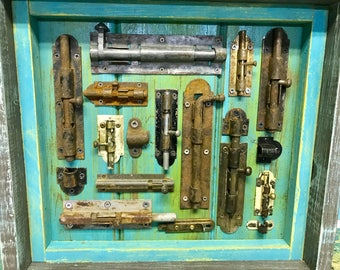 Vintage Deadbolt Sliding Latch Window Hardware Art ONE Shadowbox Modern Industrial Decor by CastawaysHall - Ready to Ship