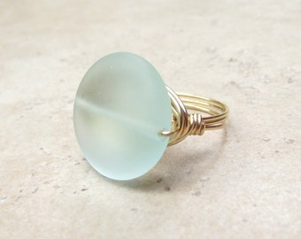 Light Aqua Sea Glass Ring:  24K Gold Wire Wrapped Ring, Seafoam Green, Mint Green Beach Jewelry