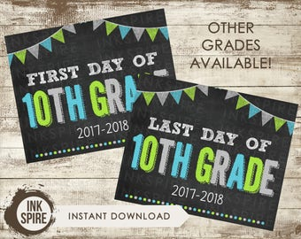 Printable First and Last Day of 10th Grade School Chalkboard Sign, Back to School Sign, School Chalkboard Poster, INSTANT DOWNLOAD