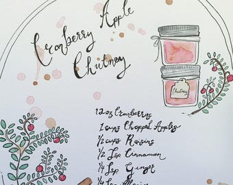 Custom Recipe Pages / Family / Illustration/ Watercolour / Hand drawn / Keepsake