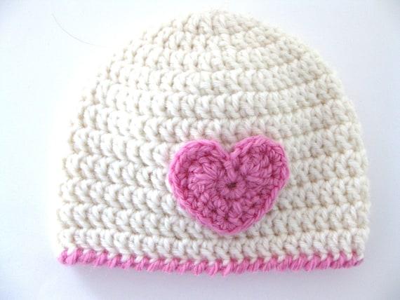 Pattern Crochet Hat Heart Preemie Girl Beanie Dk Pink Edge