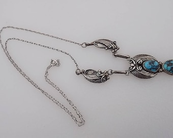 RB Sterling Silver Turquoise Navajo Necklace Pendant Begay or Bencenti
