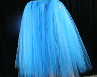 Adult tutu skirt long Turquoise extra puffy petticoat two layer dance formal wedding bridal prom gypsy -You Choose Size- Sisters of the Moon