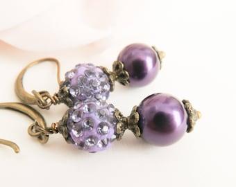 Dark purple bridesmaid earrings, pearl earrings, vintage style wedding jewelry, purple bridal jewelry, bridesmaid gift