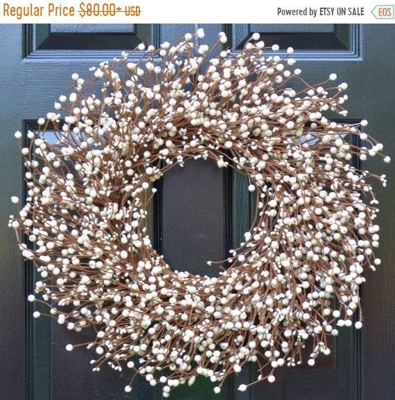 & SUMMER WREATH SALE Cream Berry Wreath Berry Door Wreath Year