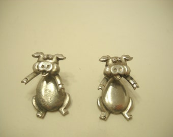 Vintage JJ Pewter Articulating Pig Pierced Earrings (8928)