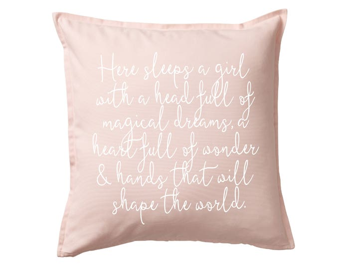 Here Sleeps A Girl Pink Pillow Cover - Kid Room, Girl's Room, Home Decor, Pillowcase, Cushion Cover, Gift for Her