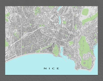 Nice Map, Nice France Art Print, Buildings, French City Maps