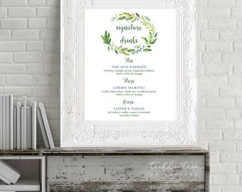 Reception Signs/Signature Drinks - Breezy Leaf (13701)