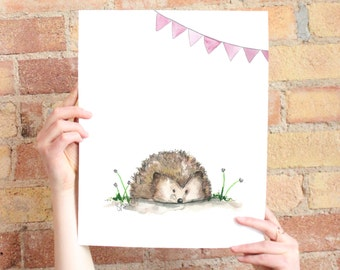 Watercolor hedgehog for baby nursery (banner available in multiple colors)