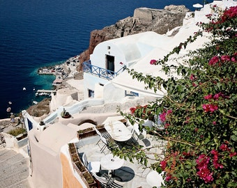 Santorini Photography Greece Photograph Cobalt Blue White Fuschia Travel Photography Greek Island Oia Photo Mediterranean Home Decor