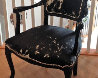 French Cowhide Upholstered Accent Chair