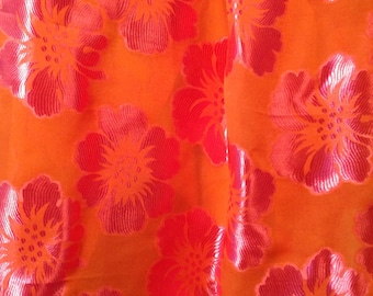 Silk-Rayon Devore Burn-Out, 1 Yard, Pink & Orange Floral Sheer