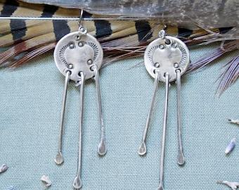 Hand Stamped Sterling Silver Fringe Earrings