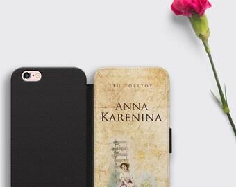 Anna Karenina iPhone 8 Case Leo Tolstoy Samsung S8 Plus Wallet Cover - Classic Literature Book Cover iPhone Case Literary Gift iPhone X Case