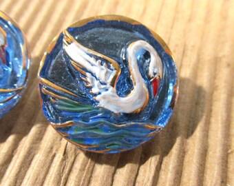 Czech SWAN Button Hand Painted Glass Swan Czech Glass Button Two (2) Czech Glass Swan Bird Vintage Button Jewelry Supplies (J223)