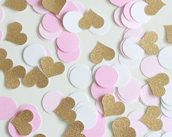 """Gold Glitter hearts Pink ombre white 1' Circle Confetti /100 Count/ 1"""" hearts/Party Decor/Birthday/Princess Party/Baby Shower/Table Confetti"""