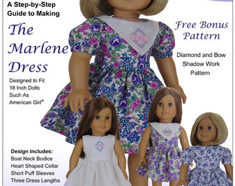 Pixie Faire Sharp Dressed Dolls Marlene Dress Doll Clothes Pattern for 18 inch American Girl Dolls - PDF